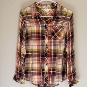 C & B • Fall Colored Plaid Flannel Button Down
